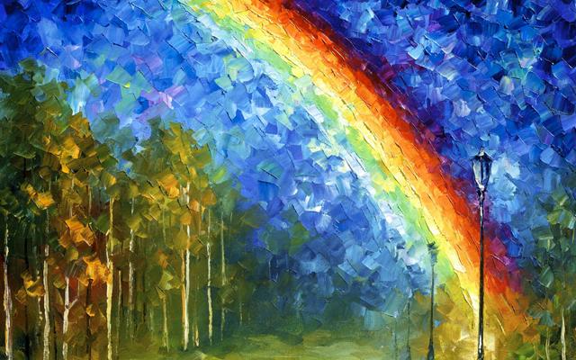Художники рисуют радугу
