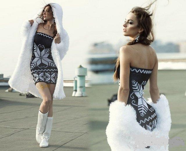 платье с узором снежинки
