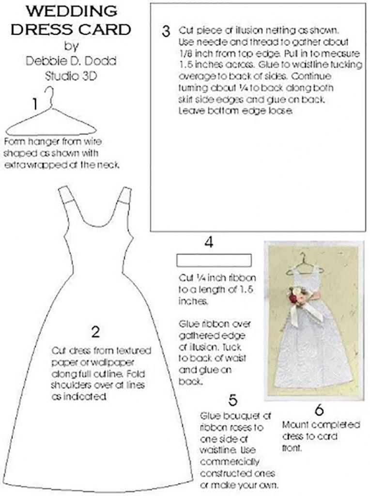 Открытка скрапбукинг платье шаблон 63